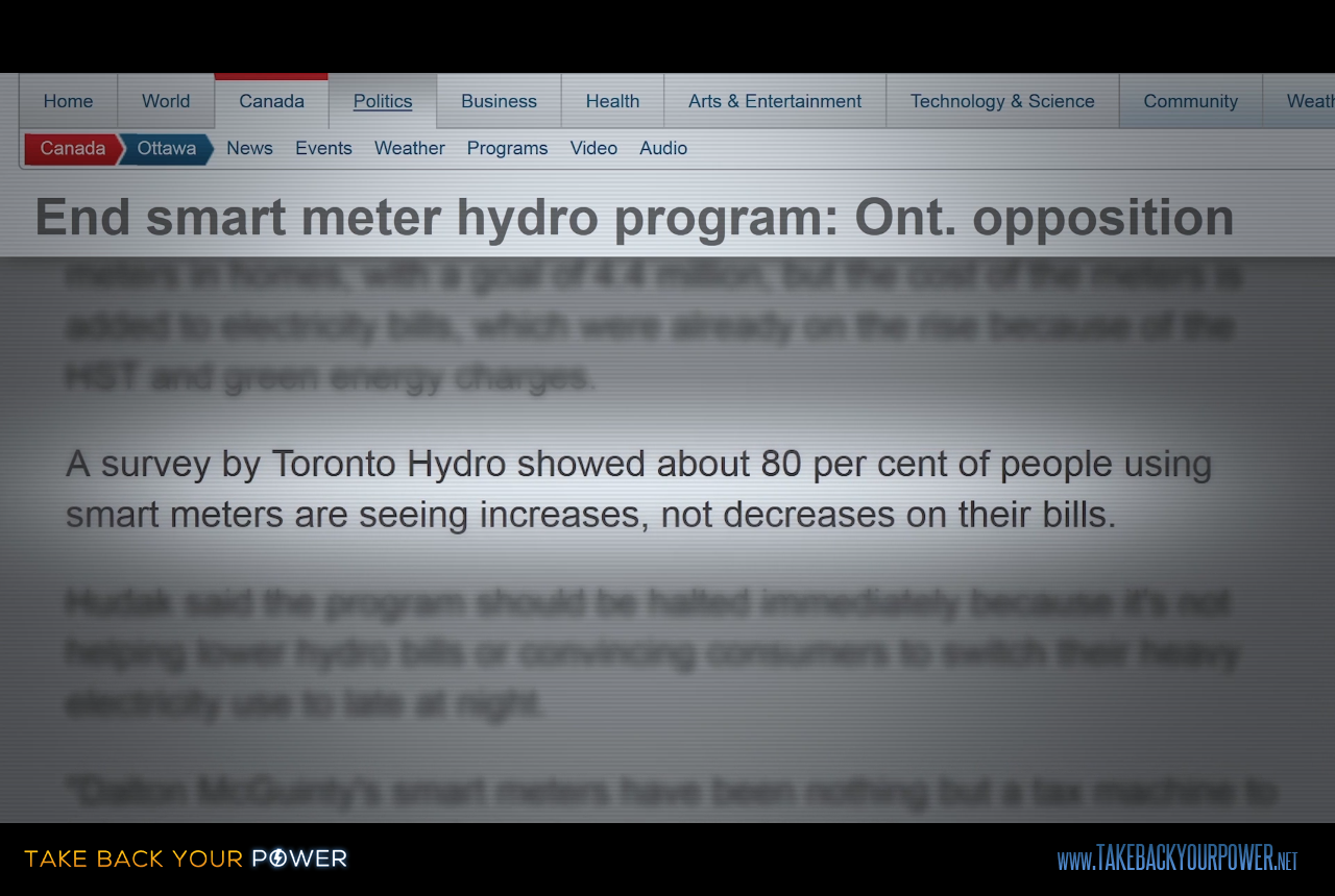 Toronto Hydro poll: 80% see increase in utility bills following smart meter install. (scene from Take Back Your Power)