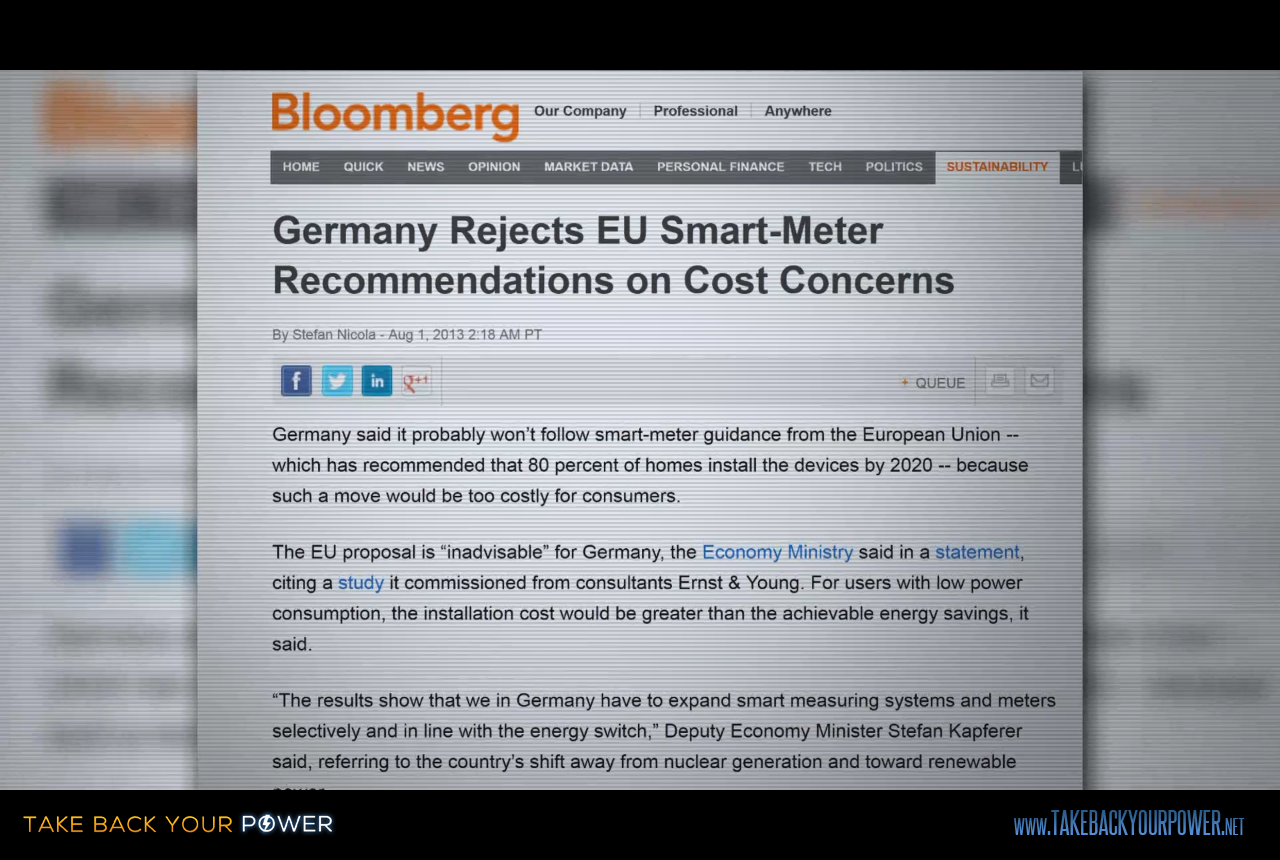 Germany - who buys half the world's solar panels - is rejecting smart meters (scene from Take Back Your Power)