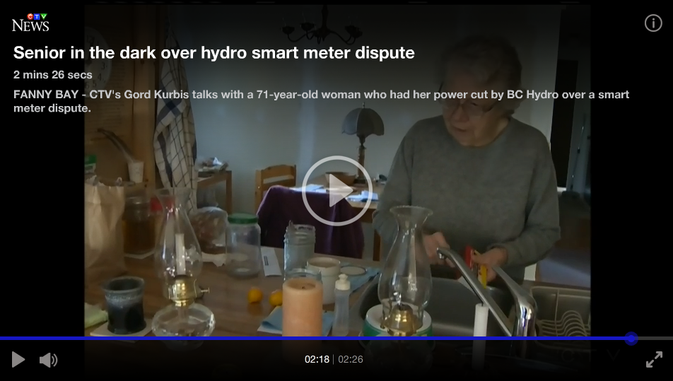 "Watch video: ""Senior in the dark over Hydro smart meter dispute"""